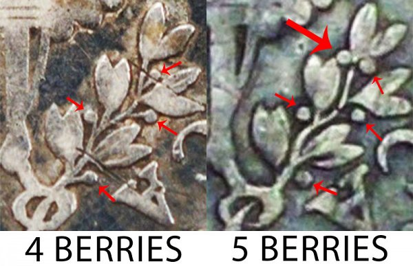 1805 4 Berries vs 5 Berries Draped Bust Dime - Difference and Comparison
