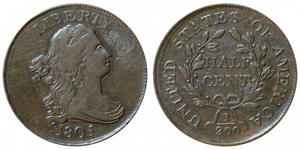 1805 Draped Bust Half Cent Penny - Medium 5 - No Stems (Stemless)