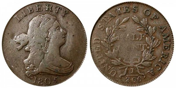 1805 Draped Bust Half Cent Penny - Small 5 - With Stems