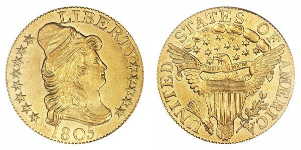 1805 Turban Head $5 Gold Half Eagle - Five Dollars