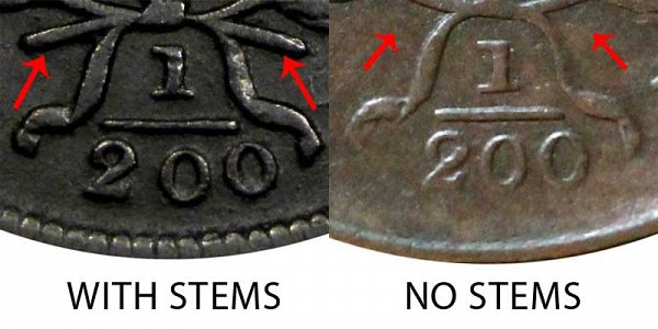 1805 With Stems vs No Stems (Stemless) Draped Bust Half Cent - Difference and Comparison