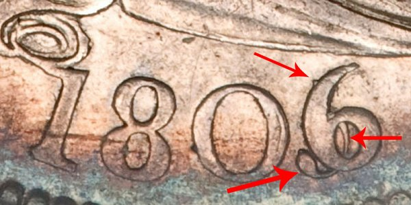 1806/5 Draped Bust Quarter - 6 Over 5 Overdate Error