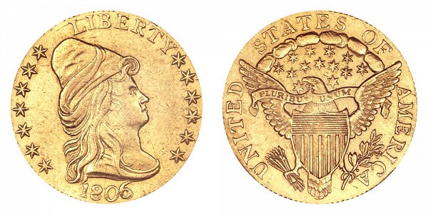 1806/5 Turban Head $2.50 Gold Quarter Eagle - 7X6 Stars