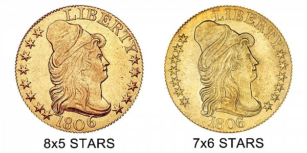 1806 8x5 Stars vs 7x6 Stars - $5 Turban Head Gold Half Eagle - Difference and Comparison