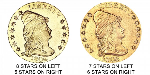 1806 7x6 stars vs 8x5 stars - Turban Head Gold Quarter Eagles