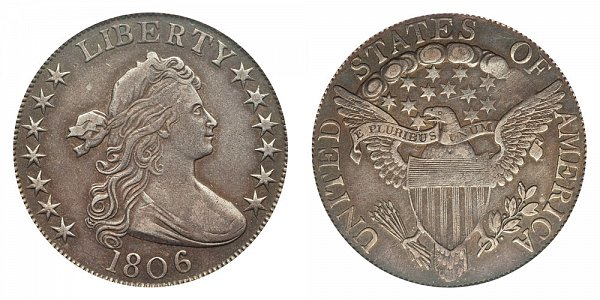 1806 Draped Bust Half Dollar - Knobbed 6 - Large Stars