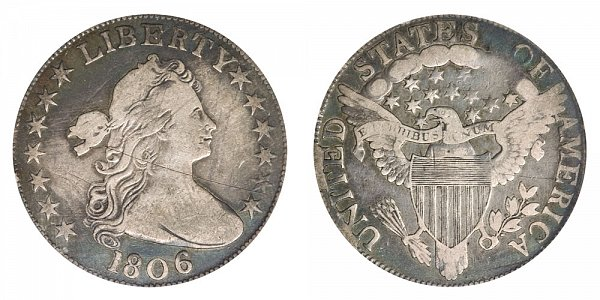 1806 Draped Bust Half Dollar - Knobbed 6 - No Stem Through Claw