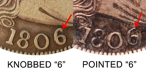 1806 Knobbed 6 vs Pointed 6 Draped Bust Half Dollar - Difference and Comparison