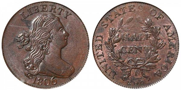 1806 Draped Bust Half Cent Penny - Large - With Stems