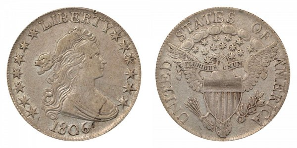 1806 Draped Bust Half Dollar - Pointed 6 - No Stem Through Claw
