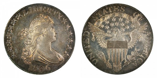 1806 Draped Bust Half Dollar - Pointed 6 - Stem Through Claw