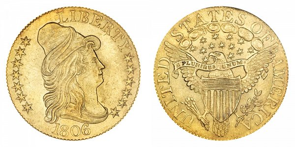 1806 Round 6 - Turban Head $5 Gold Half Eagle - Five Dollars
