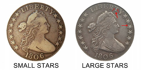 1806 Small Stars vs Large Stars Draped Bust Half Dollar - Difference and Comparison