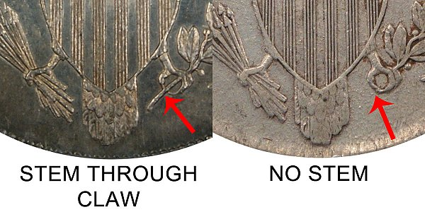 1806 Stem Through Claw vs No Stem Draped Bust Half Dollar - Difference and Comparison