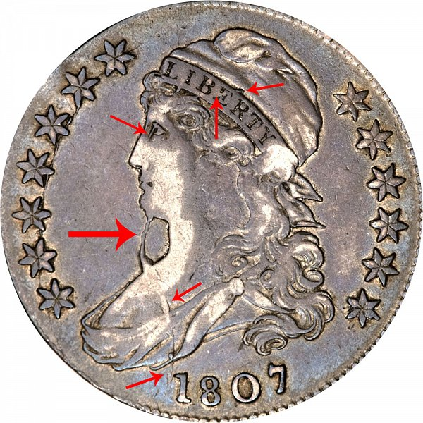 1807 Capped Bust Half Dollar - Bearded Liberty Goddess
