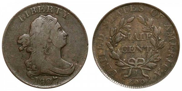 1807 Draped Bust Half Cent Penny