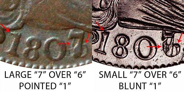 1807 Draped Bust Large Cent - Large 7 vs Small 7 - Pointed 1 vs Blunt 1 - Difference and Comparison