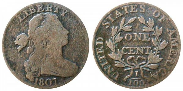 1807 Draped Bust Large Cent Penny - Large Fraction