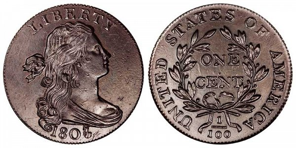 1807/6 Draped Bust Large Cent Penny - Small 7 - Blunt 1