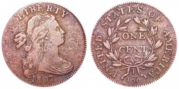 1807 Draped Bust Large Cent Penny - Small Fraction