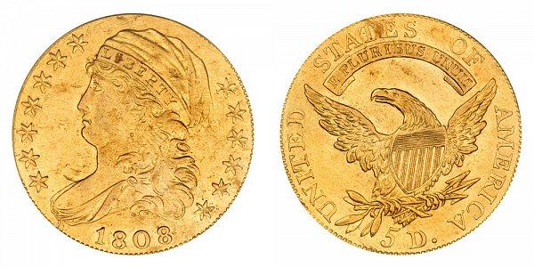 1808/7 Capped Bust $5 Gold Half Eagle - Five Dollars