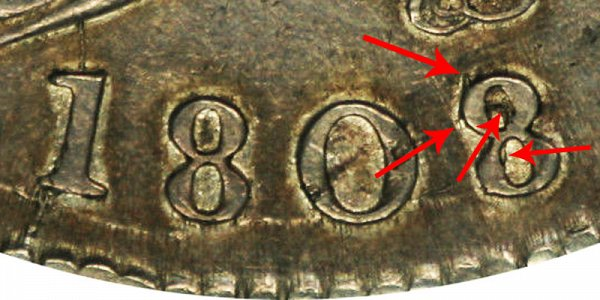 1808/7 Capped Bust Half Dollar - 8 Over 7 Overdate Error