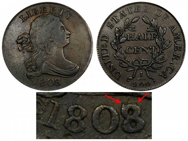 1808/7 Draped Bust Half Cent Penny - 8 Over 7 Overdate Error