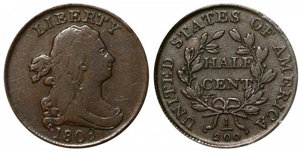 1808 Draped Bust Half Cent Penny - Normal Date