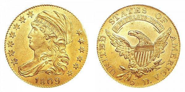 1809/8 Capped Bust $5 Gold Half Eagle - Five Dollars