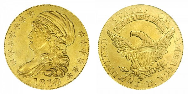 1810 Large Date - Small 5 - Capped Bust $5 Gold Half Eagle - Five Dollars