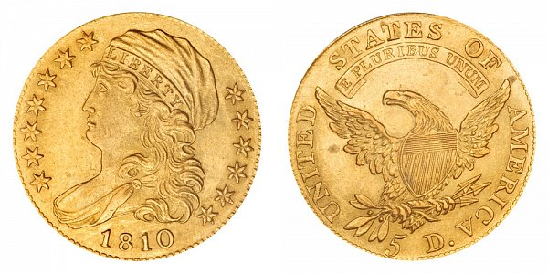 1810 Small Date - Tall 5 - Capped Bust $5 Gold Half Eagle - Five Dollars