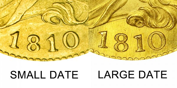1810 Small Date vs Large Date - $5 Capped Bust Gold Half Eagle - Difference and Comparison