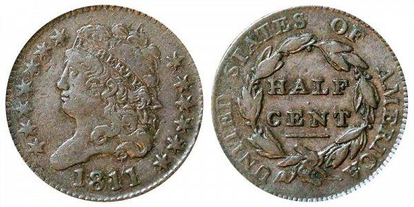 1811 Classic Head Half Cent Penny - Close Date