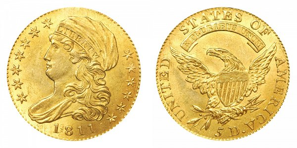 1811 Small 5 - Capped Bust $5 Gold Half Eagle - Five Dollars
