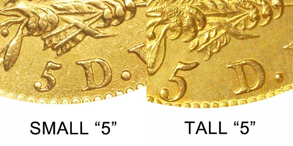 1811 Small 5 vs Tall 5 - $5 Capped Bust Gold Half Eagle - Difference and Comparison