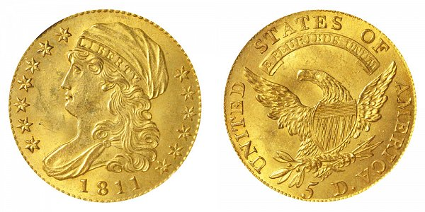 1811 Tall 5 - Capped Bust $5 Gold Half Eagle - Five Dollars