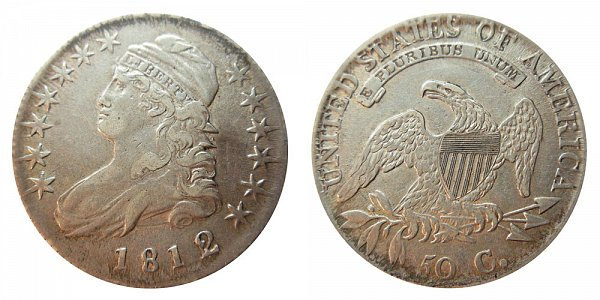 1812/1 Capped Bust Half Dollar - Small 8 - 2 Over 1