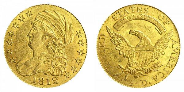1812 Capped Bust $5 Gold Half Eagle - Five Dollars