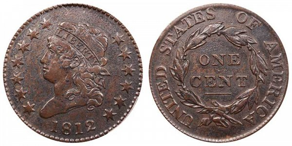 1812 Classic Head Large Cent Penny - Large Date