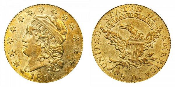 1813 Capped Bust $5 Gold Half Eagle - Five Dollars