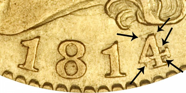 1814/3 Capped Bust Gold Half Eagle - 4 Over 3 Overdate - Closeup Example Image
