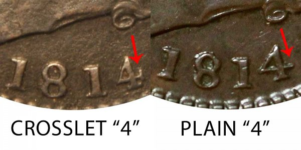 1814 Classic Head Large Cent Penny - Crosslet 4 vs Plain 4