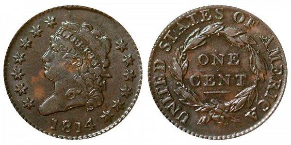 1814 Classic Head Large Cent Penny - Plain 4