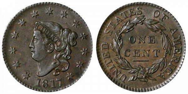 1817 Coronet Head Large Cent Penny - 13 Stars