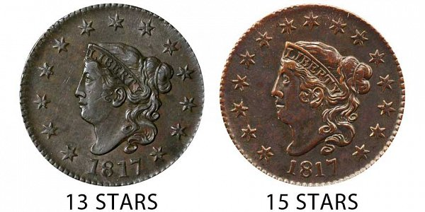 1817 Coronet Head Large Cent Penny - 13 Stars vs 15 Stars Comparison