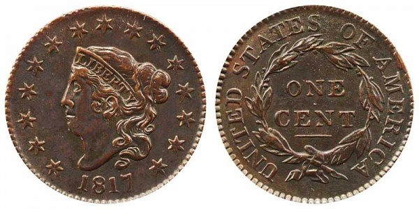 1817 Coronet Head Large Cent Penny - 15 Stars
