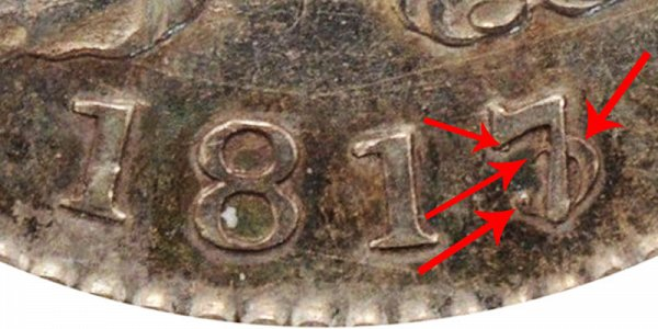 1817/3 Capped Bust Half Dollar - 7 Over 3 Overdate Error