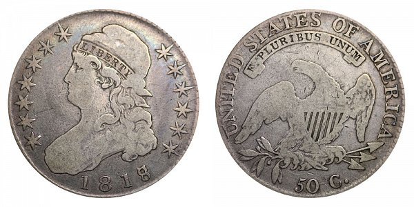1818/7 Large 8 Capped Bust Half Dollar - 8 Over 7 Overdate