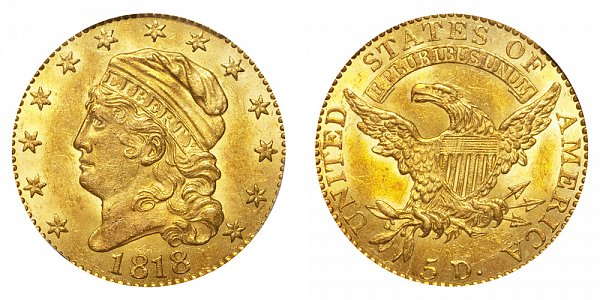 1818 Capped Bust $5 Gold Half Eagle - Five Dollars