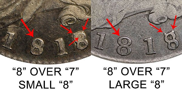 1818/7 Small 8 vs Large 8 Capped Bust Half Dollar - Difference and Comparison